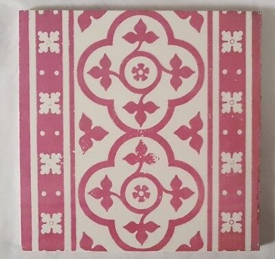 MINTON LARGE DECADENT PINK TILE gothic revival pugin style 8 INCH