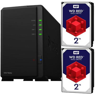 Synology DS218play DiskStation with 4TB (2 x 2TB) Western Digital NAS Drives