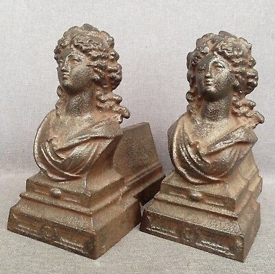 Antique pair of andirons France made of cast iron early 1900's fireplace women