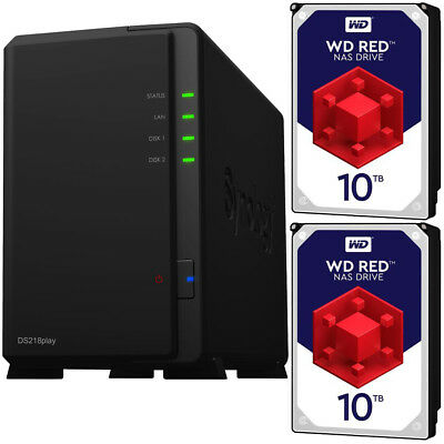 Synology DS218play DiskStation with 20TB (2 x 10TB) Western Digital NAS Drives