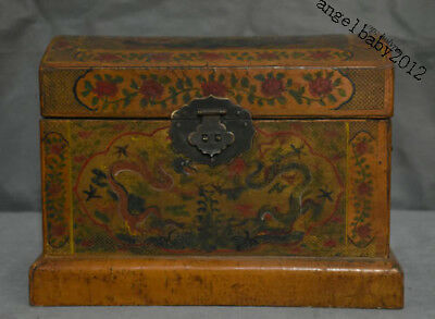 """10"""" Old China lacquerware Wood Carved Flower Two Dragon storage Chest Bin Box"""