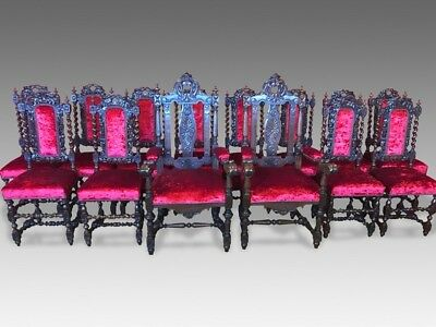 Magnificent set 14 beautiful Antique Oak Charles II style chairs French polished