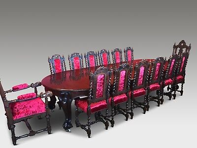 Amazing set 14 beautiful Antique Oak Charles II style chairs French polished