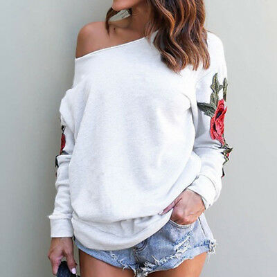 Embroidery Flower Off Shoulder Top Long Sleeve Ladies Casual Blouse Shirt N7