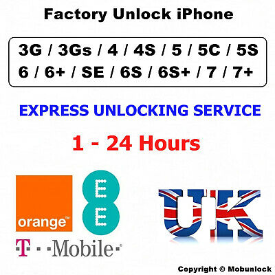 Unlock Service FOR Apple iPhone 7 6S 6 5S 5C 5 SE 4S 4 Unlocking EE T-MOBILE UK