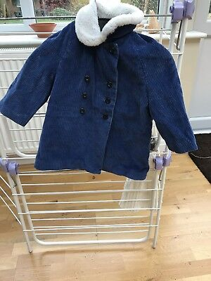 VINTAGE C1960s CHILDS BLUE CORDUROY COAT SHEEPSKIN COLLAR **FLAWS PLEASE READ**