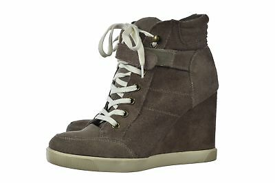 0008cd52464 STEVE MADDEN HIGH Top Wedge Suede Taupe Sneakers Womens Size 6.5M (F ...