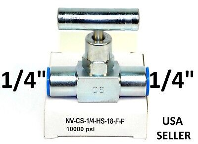 "New! Carbon Steel Needle Valve 10000 Psi 1/4"" X 1/4"" Fnpt Nv-Cs-1/4-Hs-18-F-F Ig"
