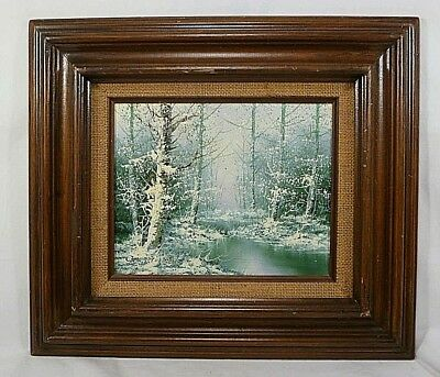 Carl Madden Original Oil Painting Featuring A Wooded Stream in Winter