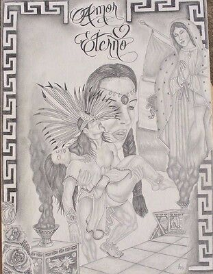 Texas Prison Art Chicano Drawing Guadalupe Popocatepetl Iztaccihuatl by Mendoza