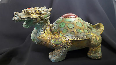 X-RARE Tang Dyn. Chinese Gilt-Bronze Dragon Turtle! Turquoise & Red Agate Inlay!