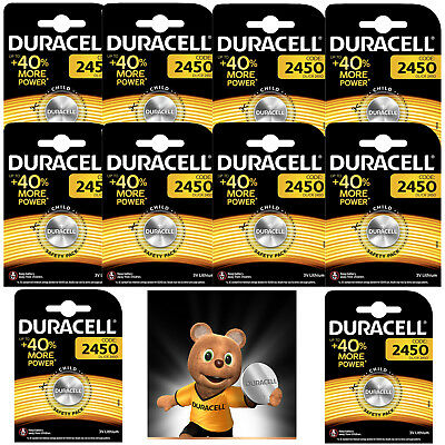 Genuine 10 X Duracell Cr2450 3V Lithium Coin Cell Battery 2450 Dl2450 K2450L