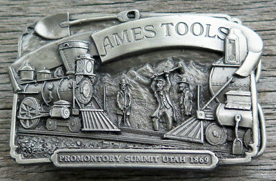 Ames Tools Promontory Summit Utah Train Railroad Siskiyou Vintage Belt Buckle
