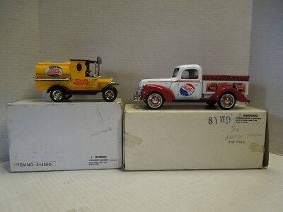 Golden Wheel Pepsi Cola Diecast 1940 Ford Truck Bank & Pepsi Yellow Tanker
