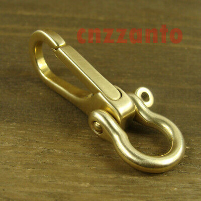 Brass key chain ring Belt snap hook clip + U Shackle for Fob wallet chain H322