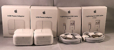 Geniune  Apple iphone Cable USB 12W Charger Adapter For X 8 7 6 plus 5 iPad Air