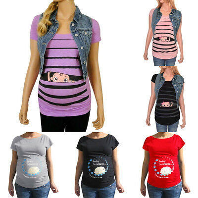 Plus Maternity Cute Funny Baby Print Striped Short Sleeve T-shirt Pregnant Tops