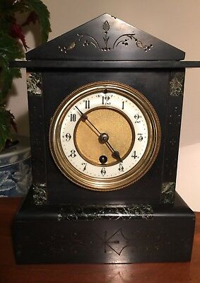 German Slate And Grey Granite Mantle Clock