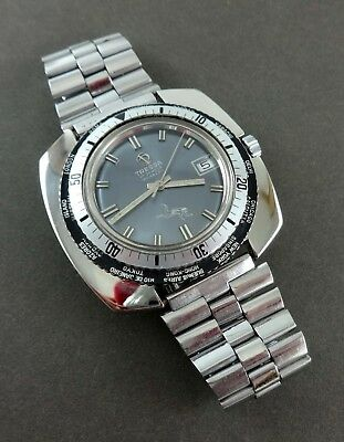 Unusual TRESSA Sub World Time Divers Watch. Double Bezel. Date. Ca 1960's