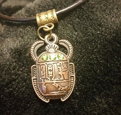 ☽✪☾ Egyptian Scarab Beetle With Green Gems Bronze Tone Pendant Leather Necklace
