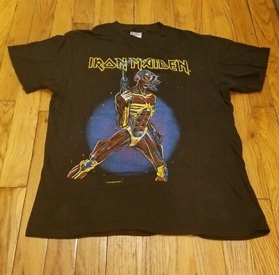 Iron Maiden Original Vintage Shirt 1987 Somewhere In Time NEVER WORM NEVER  WASH 09cd67555