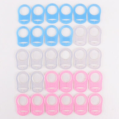 30x Mix PINK BLUE CLEAR SILICONE BABY MAM RINGS DUMMY CLIPS ADAPTER