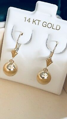 96cb90772 14K ROSE GOLD drop dangle lever back ball earrings 8mm new - $95.99 ...