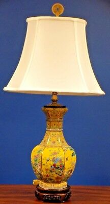 """Exquisite Pair Of 32"""" Tall Chinese Porcelain Hex Vase Lamps"""