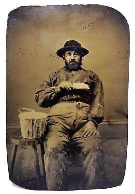 Mid-19Th C American Antique Occupational Tintype Of A Seated Painter, Lowell, Ma