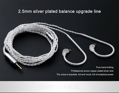 2.5MM Balanced Upgraded Plated Silver Earphone Cable 0.75 2Pin For TRN V10 V80