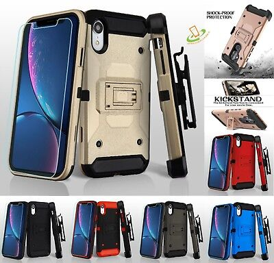 Phone Case For Apple iPhone XR Shockproof Rugged Hybrid Holster TPU Cover Screen