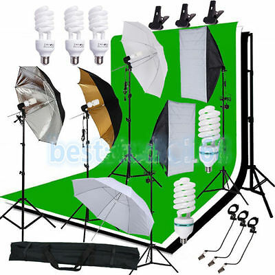 Photography Studio Backdrop Softbox Umbrella Lighting Kit Background Stand Set M