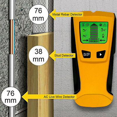 3 in1 Stud Wood Wall Center Finder Scanner Metal AC Live Wire Rebar Detector LCD