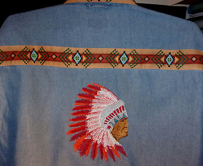 Indian  Chief  ( In Full Feathers ) Denim Shirt -Native American Looking