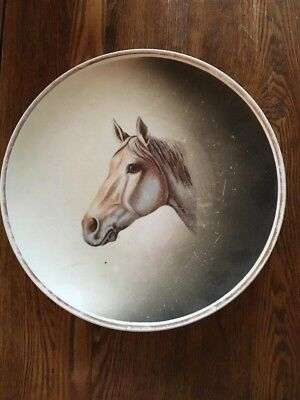 Vintage Crescent China White Horse Plate