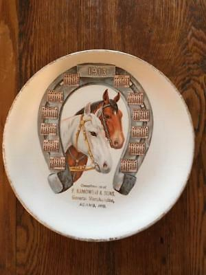 Antique General Store Merchandise Horses Calendar 1913 Plate