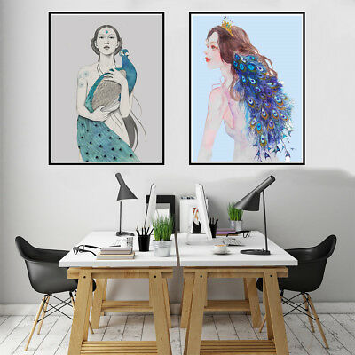 Abstract Peacock Beauty Girl Canvas Art Oil Painting Poster Picture  Home Decor