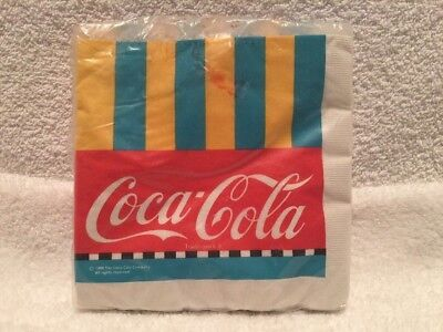 HTF Vintage 1988 COCA-COLA Napkins x24 Coke Striped NIP Luncheon Gibson Greeting