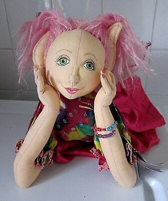 Handmade Soft Sculptured Pixie Fairy Faerie Cloth Doll ~ Wattle Nymph ~ OOAK