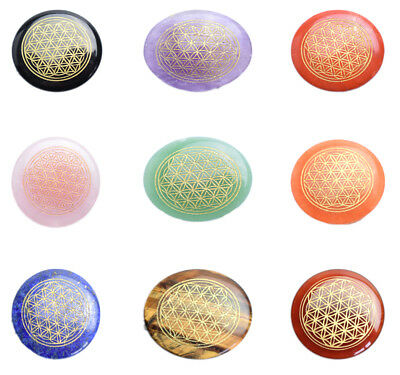 Small Size Ultrathin Natural Tumbled Chakra Stones Engraved Flower of Life