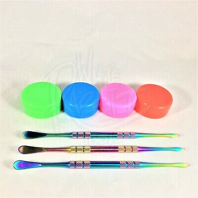 """3x 5"""" Rainbow Spoon & Pick Dabber Dab Tool + 4x 5ml Silicone Containers, Kit Set"""