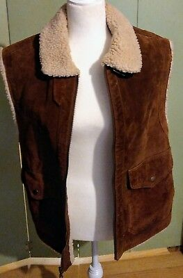 Express Vintage Men's Brown Suede Leather Sherpa Western Riding Rancher Vest XS