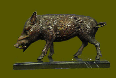 Signed Bronze Marble Wild Boar Hunting Animal Sculpture Figure Art Figurine Sale
