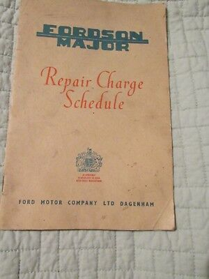 Fordson Major.  Repair Charge Schedule.  May 1955 booklet
