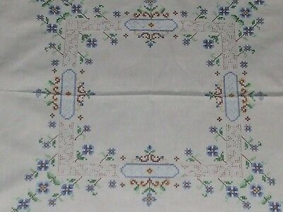 retro 60s lovely linen Vintage Embroidered Table Linen, cross stitch embroidery