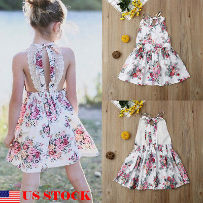 US Cute Toddler Baby Girl Sleeveless Dress Party Princess Floral Sundress Outfit