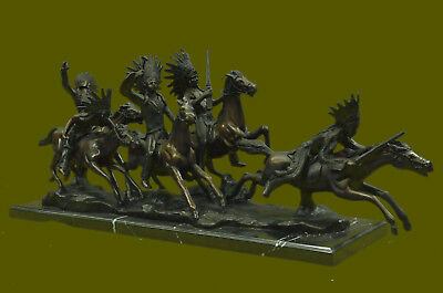Art Deco Old West Western Indian Warrior on Horse Bronze Sculpture Deal Gift