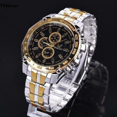 Men Casual Stainless Steel Band Quartz analog Round Wrist Watch Fathers Gift 01
