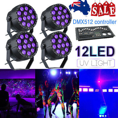 1-4X 12W UV LED Disco Par Stage Black Light DMX DJ Effect Wall Washer Lamp Party