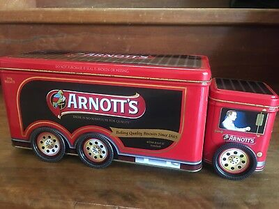 Collectable Arnott's Red Truck Biscuit Tin 360g With Wheels A-142 Empty